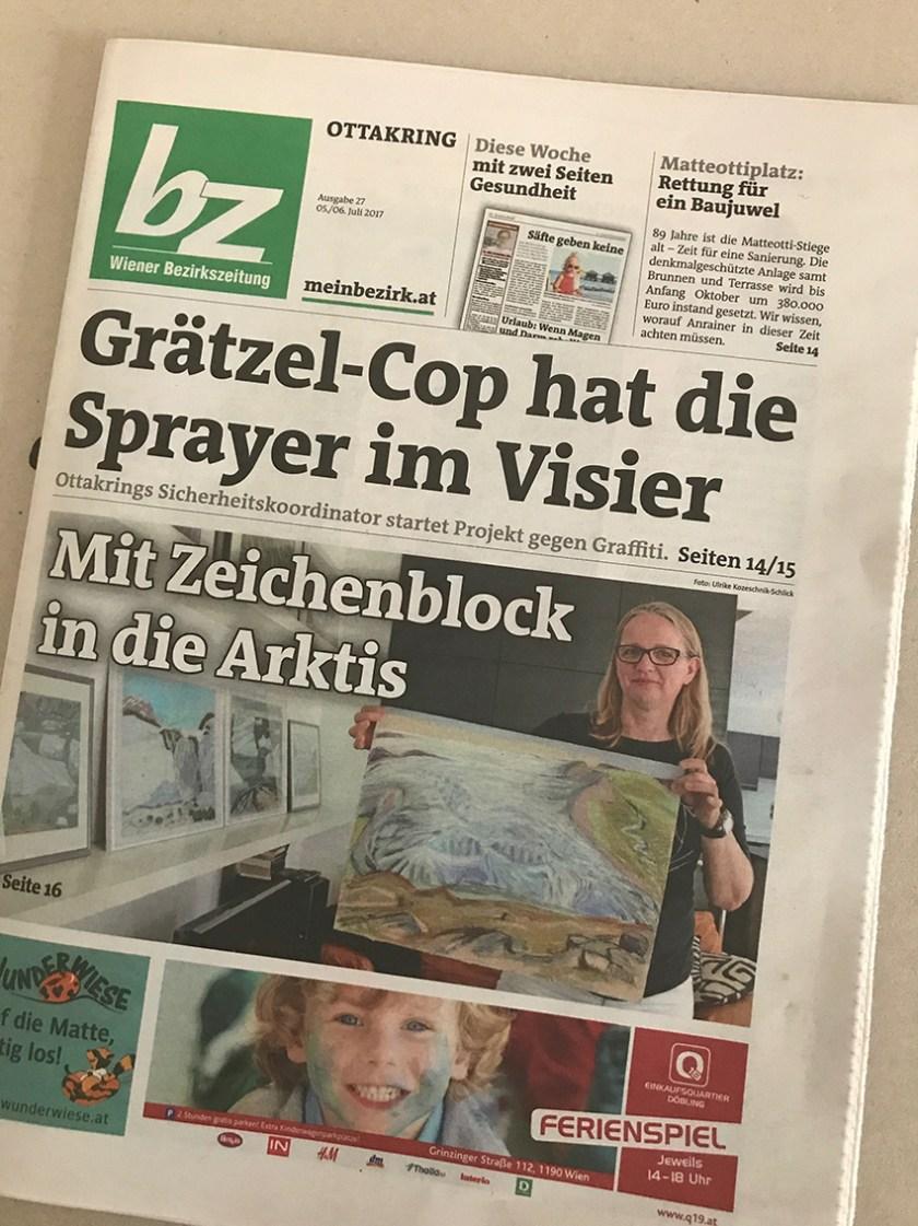 Titel Wiener Bezirkszeitung: Mit Zeichenblock in die Arktis