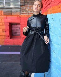 Дамска рокля с кожа