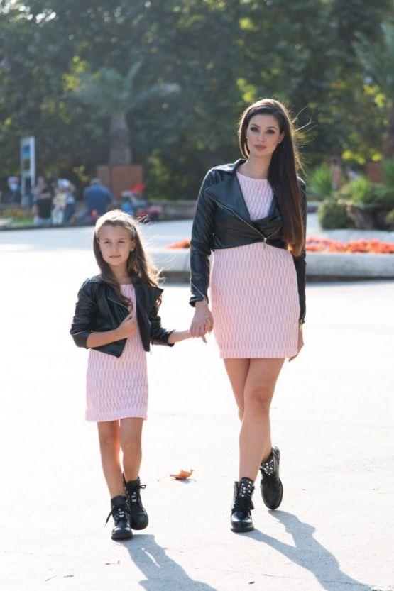 Комплект кожени якета за майка и дъщера
