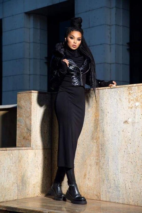 Черна Стрип рокля Поло