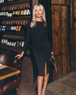 Черна ZIP рокля с цепка