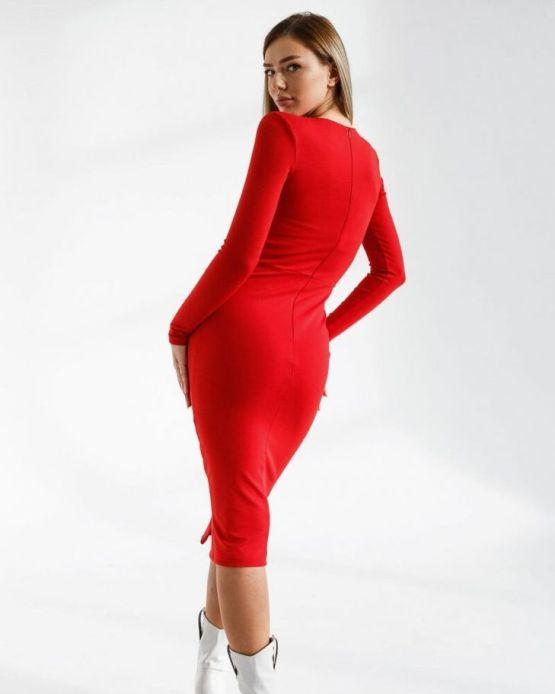 Червена ZIP рокля с цепка
