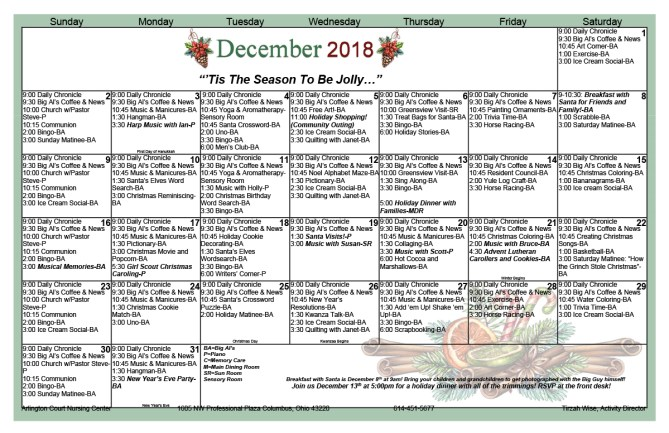 Arlington Court December 2018 Activity Calendar
