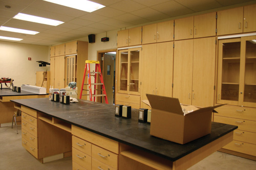 Many science rooms were in the midst of renovations throughout the summer. Rooms 231 and 236 were combined into one larger lab to better serve the needs of the science department.