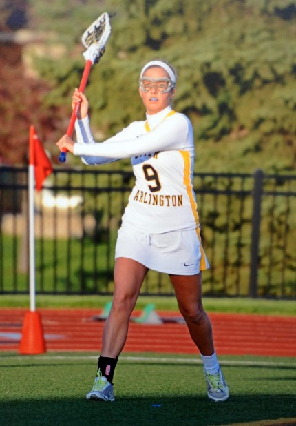 Senior Taylor Grow prepares to throw the ball in a home game at the Marv. The womens lacrosse team hopes to win the title of state champions this season.
