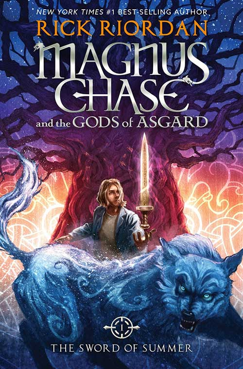 """The cover of Riordan's new book """"Magnus Chase and the Gods of Asgard: The sword of Summer. The cover art was released a few months before the book was. The book was published by Disney Hyperion."""