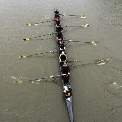The crew team sets out on the Great Miami River in Dayton, OH, for the Charlie Doyle regatta.