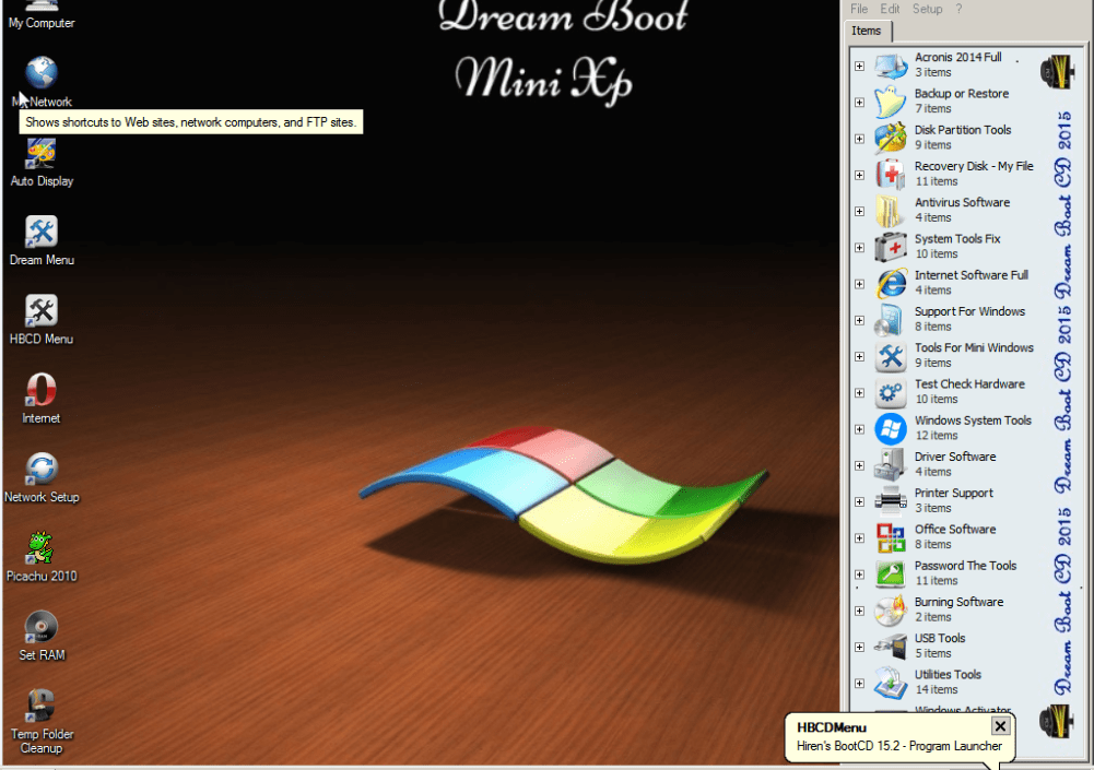 Dream Boot CD Boot Rescue 2015 is multi rescue disc.Which has multi utility tools.Over time tools and software manufacturers to upgrade and fixes, in addition to a perfect rescue CD Boot . Updated Dos programs: MBR (Master Boot Record) Tools, BIOS / CMOS Tools, File Managers, System Info, Recovery Tools, Fdisk full (5 tools) .Supports USB, HDD Box 3.0, USB 3G, Internet LAN – WLAN.Change Programs Dos and upgrading, upgrading and adding more utility. More Details: Ultimate Password Recovery Tools MBR (Master Boot Record) Tools For Mini Windows Data Recovery Tools USB utility Tools Min Windows Xp Mini Windows 7 Office Software Hard Disk Tools Partition Tools Backup Tools Testing Tools
