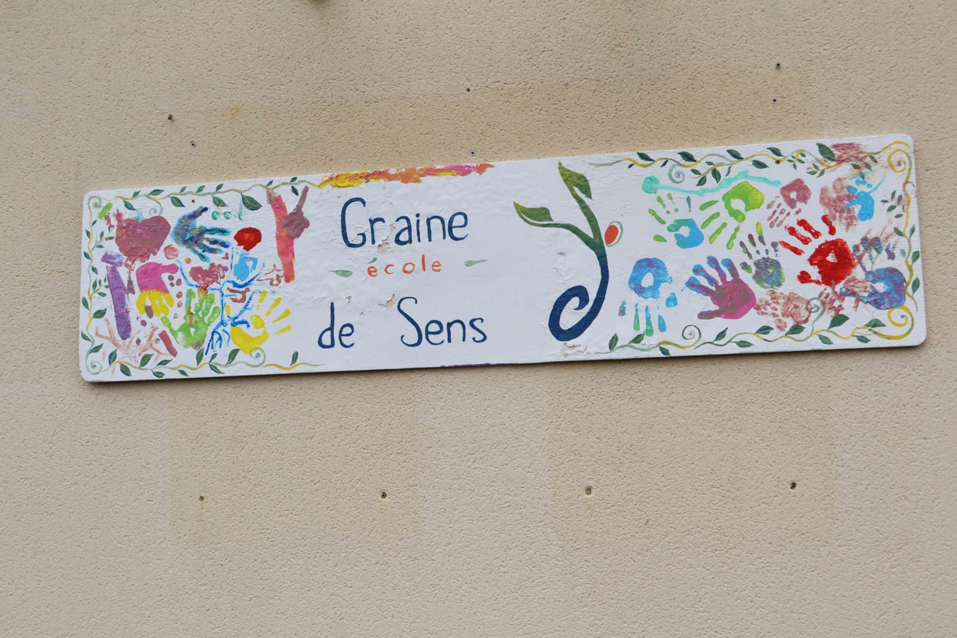 Photo pancarte école Graine de Sens