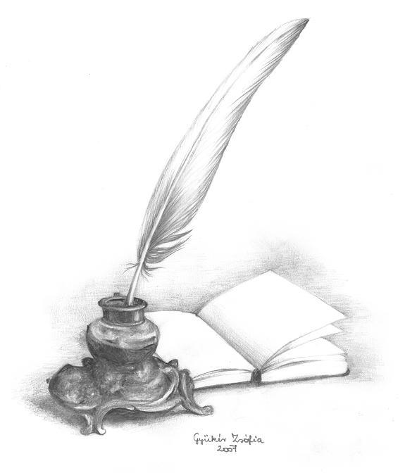 Illustration Mercredi - Dessin noir & blanc : encrier, plume et carnet