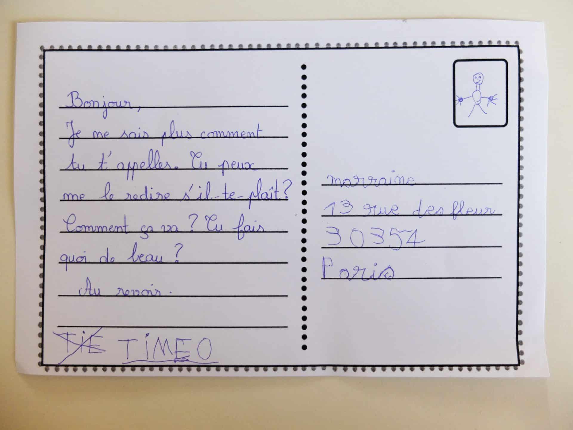Photo d'une carte postale rédigée par un enfant