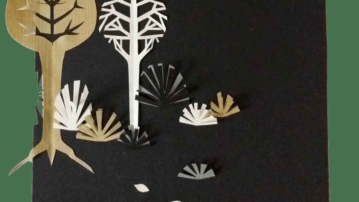 Illustration Mercredi - Collage papier : des arbres et de la végétation (noirs, blancs et marrons)