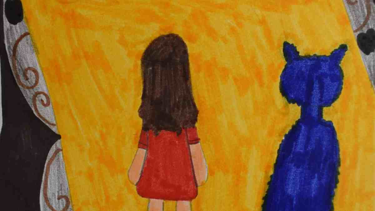 Dessin d'enfant - Une fille debout à côté d'un animal