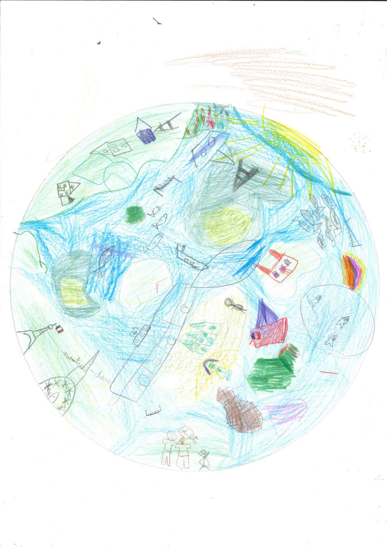 Dessin d'enfant représentant la Terre