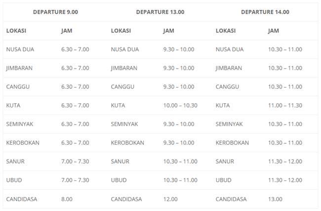 Paket Adventure Bali - Pick Up Schedule Marina Srikandi