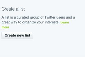 Create a Twitter list