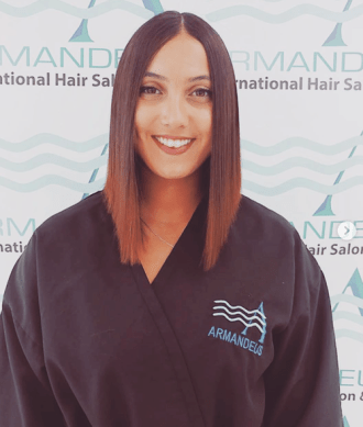 Japanese hair straightening done at Salon Armandeus Coconut Creek