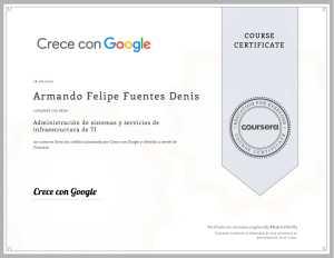 Administración de sistemas y servicios de infraestructura de Armando Felipe Fuentes Denis