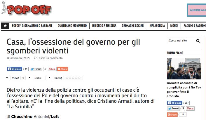 """Casa: l'ossessione del governo per gli sgomberi violenti; """"La Scintilla"""" su """"Left"""""""