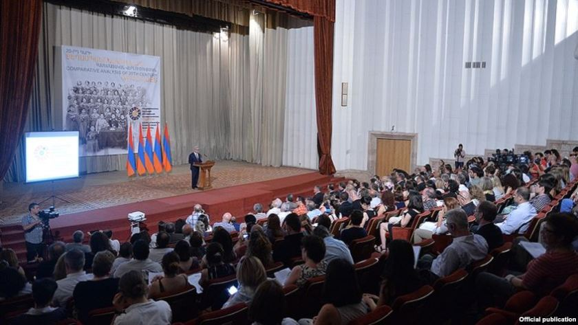 Armenia - President Serzh Sargsyan addresses the conference of the International Association of Genocide Scholars, Yerevan, 8 July 2015.