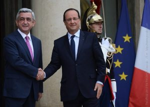 President Serge Sargsyan and President François Hollande during Sargsyan's working visit to France in Oct., 2013. (Photo: President.am)