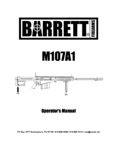 Barrett M107A1 Operator's Manual