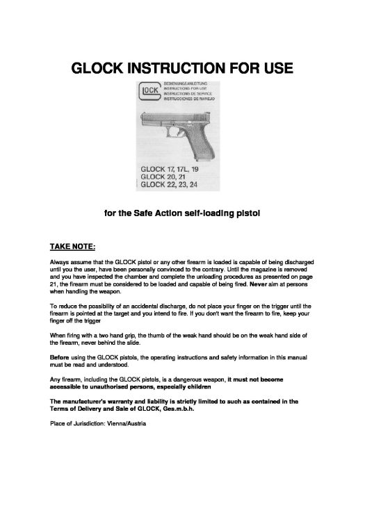 Glock Instruction for Use