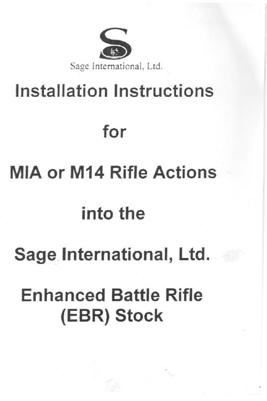 SAGE EBR INSTALLATION GUIDE
