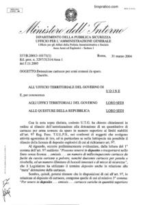 Circolare 577/B.20013-10171(1) del 31 marzo 2004 - Detenzione cartucce per armi comuni da sparo
