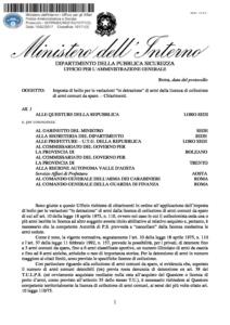 Circolare 577/PAS/U/002153/10171(3) del 10 febbraio 2017 - Imposta Bollo Variazione In Detrazione Armi Licenza Collezione Armi Comuni da Sparo
