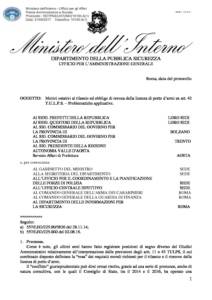 Circolare 557/PAS/U/012843/10100.A(1) del 31 agosto 2018 - Motivi ostativi rilascio ed obbligo revoca licenza porto armi ex art 43 T.U.L.P.S. problematiche applicative