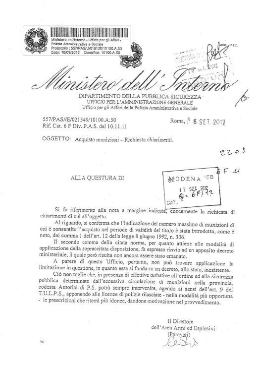 Circolare 557/PAS/U/016136/10100.A.50 del 10 settembre 2012