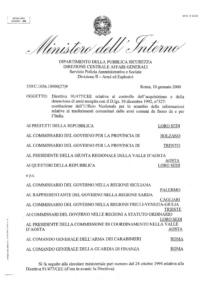Circolare 559/C.1056.10900(27)9 del 10 gennaio 2000 - Direttiva 91/477/CEE relativa al controllo dell'acquisizione e della detenzione di armi