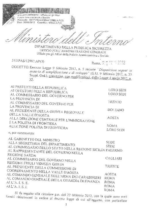 Circolare 557/PAS/U/009944/12982.AP(3) del 25 maggio 2012 - Decreto Legge 9 febbraio 2012, n. 5 recante