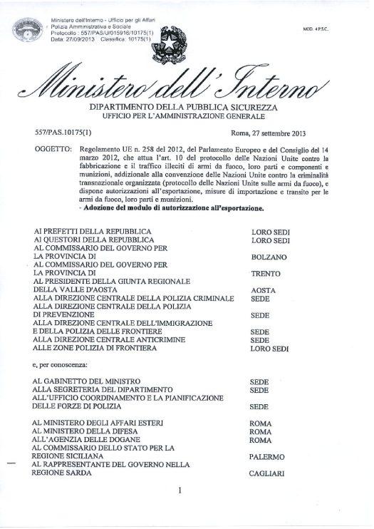 Circolare 557/PAS/U/015916/10175(1) del 27 settembre 2013 - Regolamento UE n. 258/2012