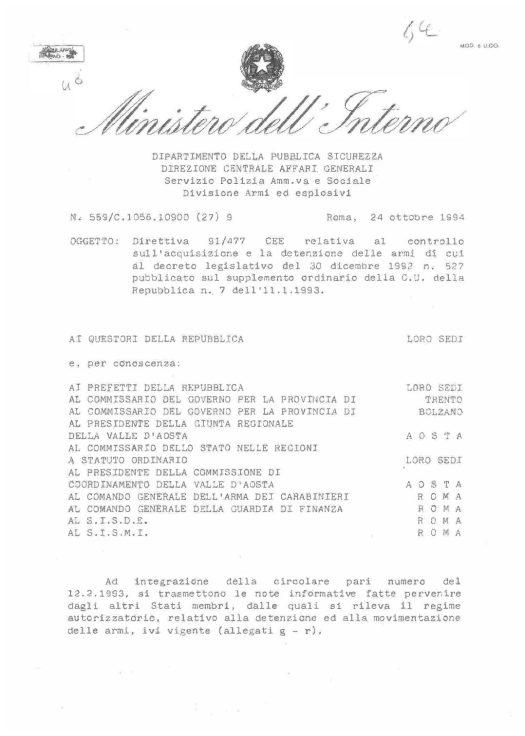 Circolare 559/C 1056.10900(27)9 del 24 ottobre 1994 - Direttiva 91/477/CEE  cui al decreto legislativo del 30.12.1992, n. 527