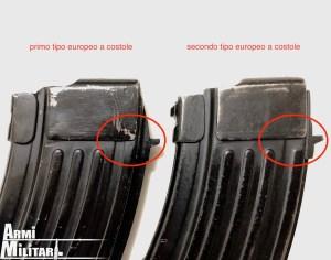 Caricatore AK, Differenza tra primo e secondo tipo europeo a costole.