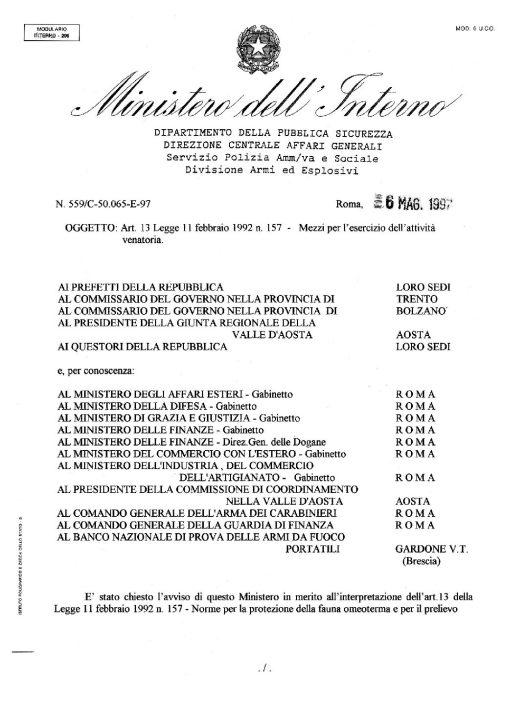 Circolare 559/C-50.065-E-97 del 6 maggio 1997 - Mezzi per l'esecrazione attivita venatoria
