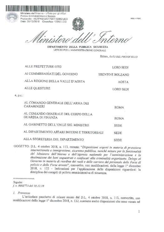 Circolare 557/PAS/U/017997/12982/LEG del 20 dicembre 2018 - D.L. 4 ottobre 2018, n. 113 - Decreto Salvini