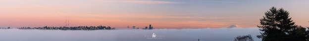 Panoramic photo of the fog covering Seattle