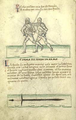 Vadi's description of the sword for use in armour, and a pair of combatants demonstrating their use. (De Arte Gladiatoria, 27v)