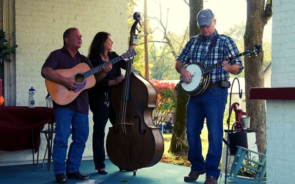 Three member band on the Armour's porch