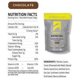 Ascent Protein Native Fuel Micellar Casein Chocolate Nutrition Facts ArmourUP Asia Singapore
