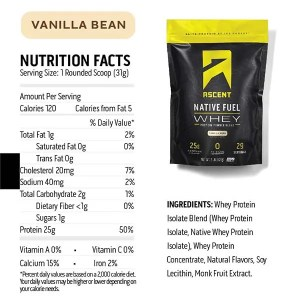 Ascent Protein Native Fuel Micellar Casein Vanilla Bean Nutrition Facts ArmourUP Asia Singapore