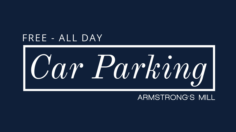 We have ample parking at both of our outlets and its free all day.