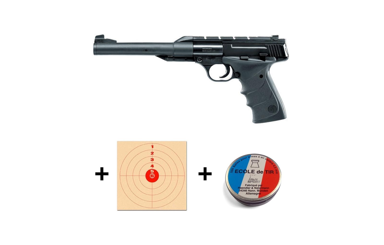 Kit Pistolet Browning Buck Mark 500 Plombs 100 Cibles