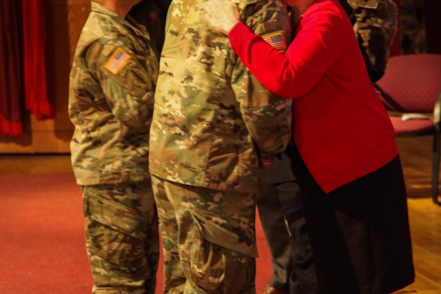U.S. Army Special Forces soldiers, Lt. Col. Kevin Trujillo, Commander of the 2nd Battalion, 10th Special Forces Group (Airborne) (Left), and Col. Isaac Peltier, Commander of the 10th SFG (A), give thanks to David and Rosemarie Byers, parents of Maj. Andrew Byers, after presenting them their sons Silver Star award at Fort Carson, Colo., Feb. 1, 2017. Byers was posthumously awarded the Silver Star for his actions in combat during the Battle of Boz Qandahari, Afghanistan on Nov. 2-3, 2016.