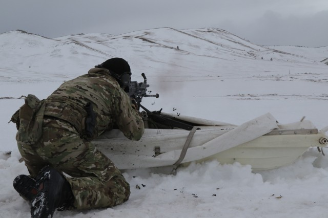 A Special Forces Operator assigned to 3rd Battalion, 10th Special Forces Group (Airborne) fires an M249 Squad Automatic Weapon at targets downrange during automatic weapons training at Fort Harrison, Montana Feb. 9, 2017. In addition to maintaining proficiency in handling and firing automatic weapons, soldiers with 10th SFG (A) honed their operational skills in ski and snowshoe movement across cold-weather terrain, and maintaining sustainment operations in an unimproved, austere environment.