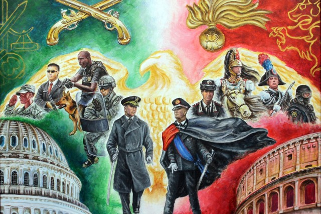 A painting which highlights the relationship between the U.S. Army military police corps and the Italian military police corps is shown here before it was presented to the Italians in November 2016 at the Pentagon.