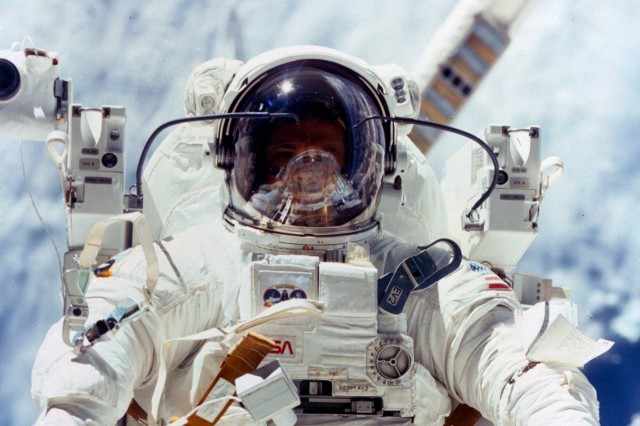 Not only was Col. Robert L. Stewart the first Army Astronaut, he was also one of the first two people to fly in space with the Manned Maneuvering Unit. With the MMU, Stewart and Navy Capt. Bruce McCandless were not tethered to the spacecraft.
